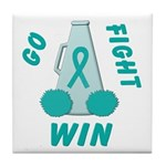 Teal WIN Ribbon Tile Coaster