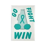 Teal WIN Ribbon Rectangle Magnet