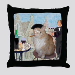 Le Cat du Cafe Throw Pillow