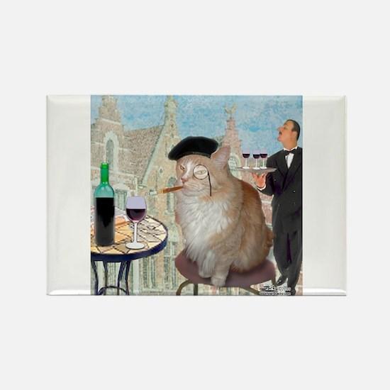 Le Cat du Cafe Rectangle Magnet