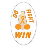 Orange WIN Ribbon Oval Sticker