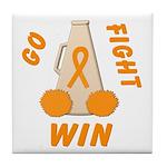 Orange WIN Ribbon Tile Coaster