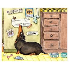 Weighty Weiner Dog Poster