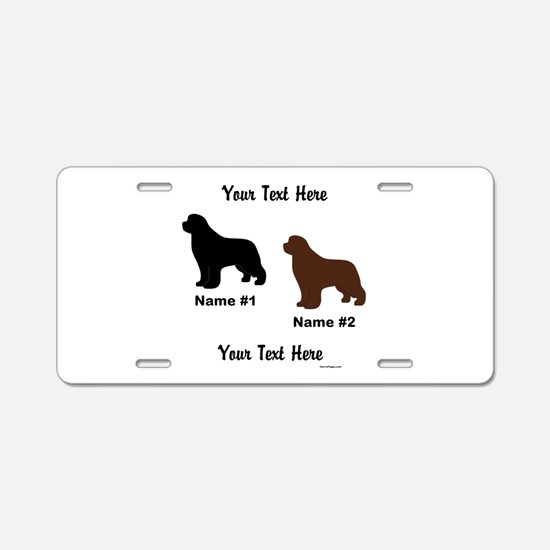 1 Black & 1 Brown Newf Aluminum License Plate