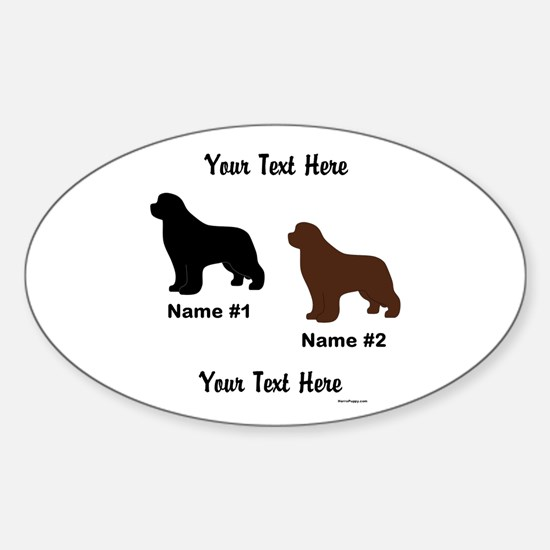 1 Black & 1 Brown Newf Sticker (Oval)
