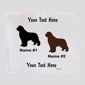 1 Black & 1 Brown Newf Throw Blanket