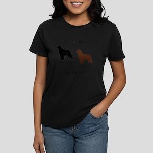1 Black & 1 Brown Newf Women's Dark T-Shirt