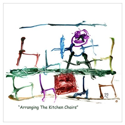 Kitchen Chairs Child Painting Framed Print