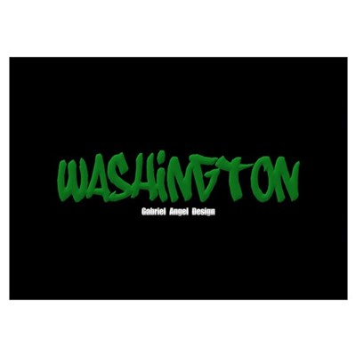 Washington Graffiti (Black) Poster