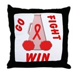 Red Go WIN Ribbon Throw Pillow