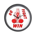 Red Go WIN Ribbon Wall Clock