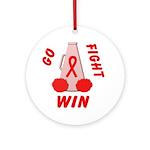 Red Go WIN Ribbon Ornament (Round)