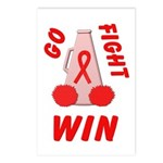 Red Go WIN Ribbon Postcards (Package of 8)