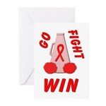 Red Go WIN Ribbon Greeting Cards (Pk of 10)