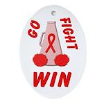 Red Go WIN Ribbon Oval Ornament