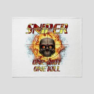 Sniper Skull One Shot One Kil Throw Blanket