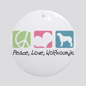 Peace, Love, Wolfhounds Ornament (Round)