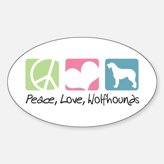 Peace, Love, Wolfhounds Sticker (Oval)