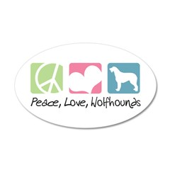 Peace, Love, Wolfhounds 38.5 x 24.5 Oval Wall Peel