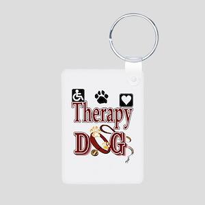 Therapy Dog Aluminum Photo Keychain