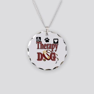 Therapy Dog Necklace Circle Charm