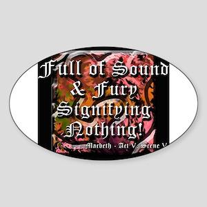 Sound and Fury Oval Sticker