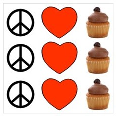 Peace Love & Cupcakes Poster