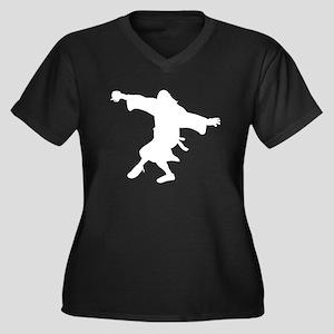 Dancing Dude Women's Plus Size V-Neck Dark T-Shirt