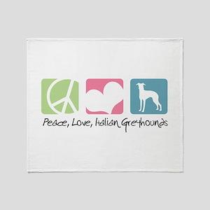Peace, Love, Italian Greyhounds Throw Blanket