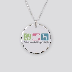 Peace, Love, Italian Greyhounds Necklace Circle Ch