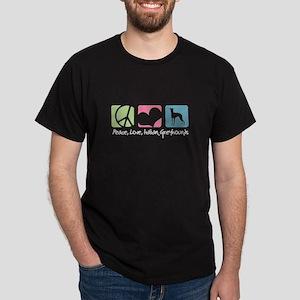 Peace, Love, Italian Greyhounds Dark T-Shirt