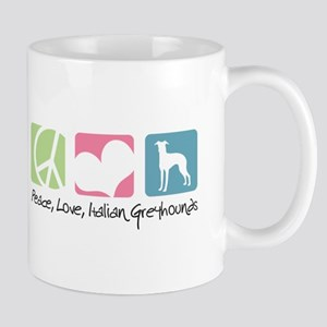 Peace, Love, Italian Greyhounds Mug