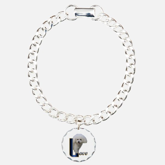 Bichon Frise Love Charm Bracelet, One Charm