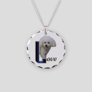 Bichon Frise Love Necklace Circle Charm