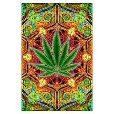 Psychedelic Marijuana Mandala Poster