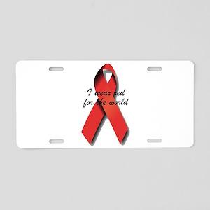 Red Ribbon Aluminum License Plate