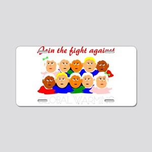 fight global warming Aluminum License Plate