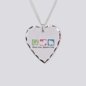 Peace, Love, Japanese Chins Necklace Heart Charm