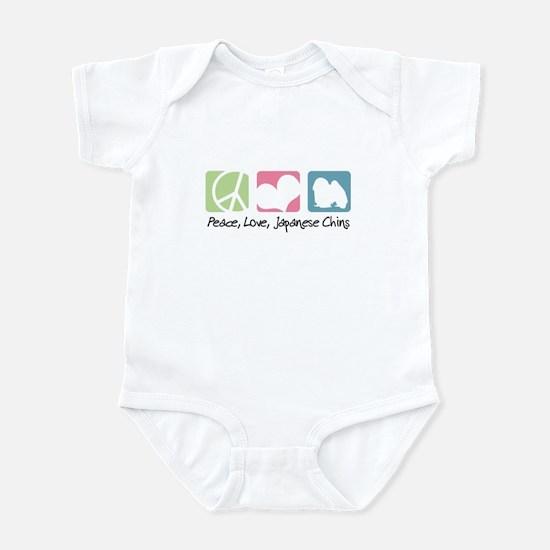 Peace, Love, Japanese Chins Infant Bodysuit