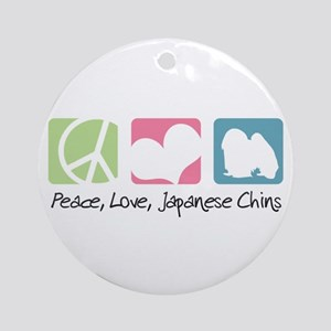 Peace, Love, Japanese Chins Ornament (Round)