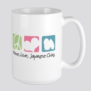 Peace, Love, Japanese Chins Large Mug