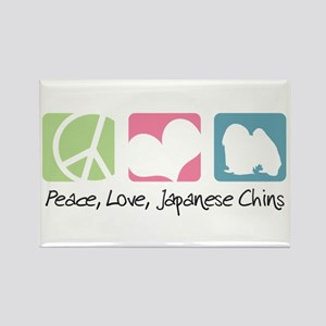 Peace, Love, Japanese Chins Rectangle Magnet