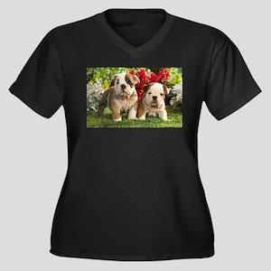 Posing Women's Plus Size V-Neck Dark T-Shirt