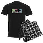 Peace, Love, Keeshonds Men's Dark Pajamas