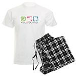 Peace, Love, Keeshonds Men's Light Pajamas