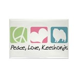 Peace, Love, Keeshonds Rectangle Magnet (100 pack)