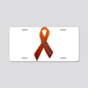 Orange Ribbon 'Survivor' Aluminum License Plate