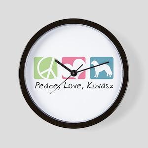 Peace, Love, Kuvasz Wall Clock
