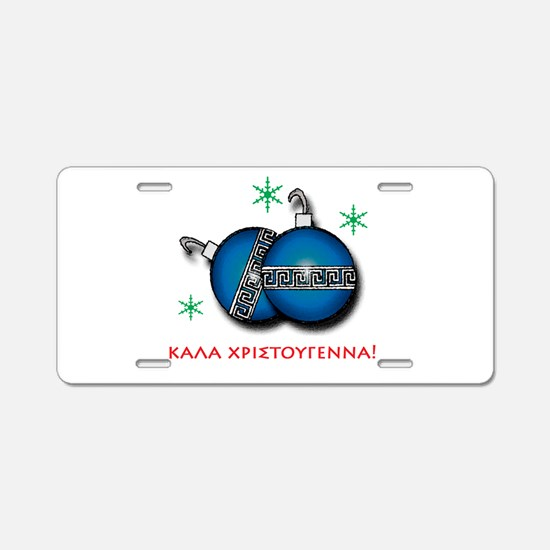"""MERRY CHRISTMAS"" IN GREEK Aluminum License Plate"