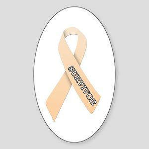 Peach Ribbon 'Survivor' Sticker (Oval)